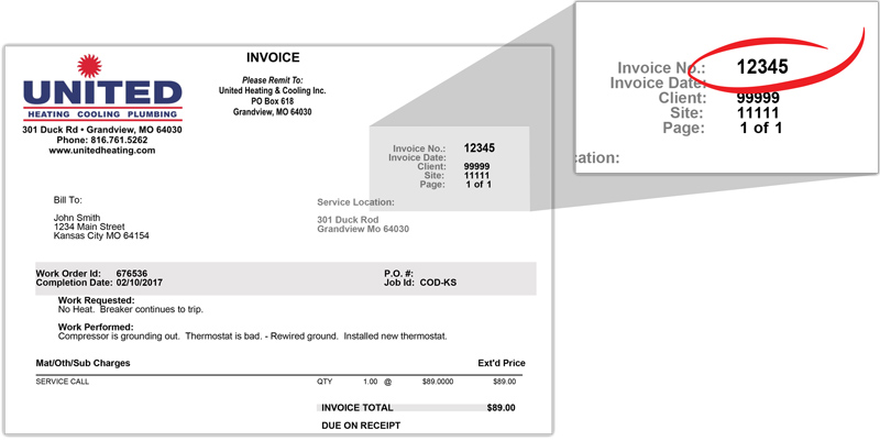 invoice example - invoice number upper right